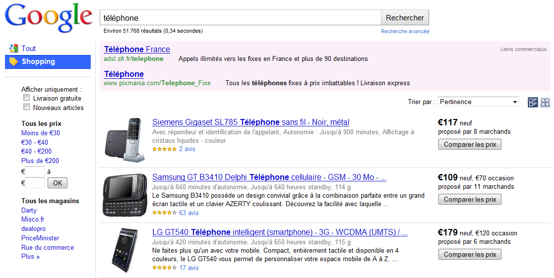 Google Shopping comparateur de prix