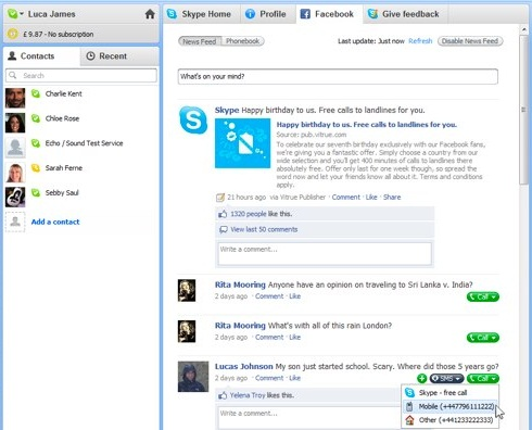 Intégration Facebook dans Skype 5