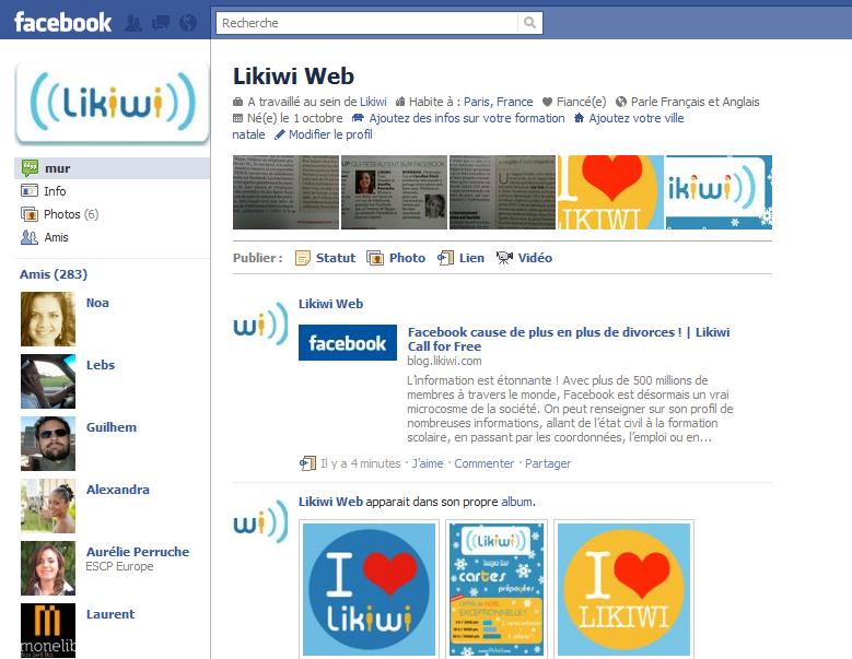 Facebook change la page profil