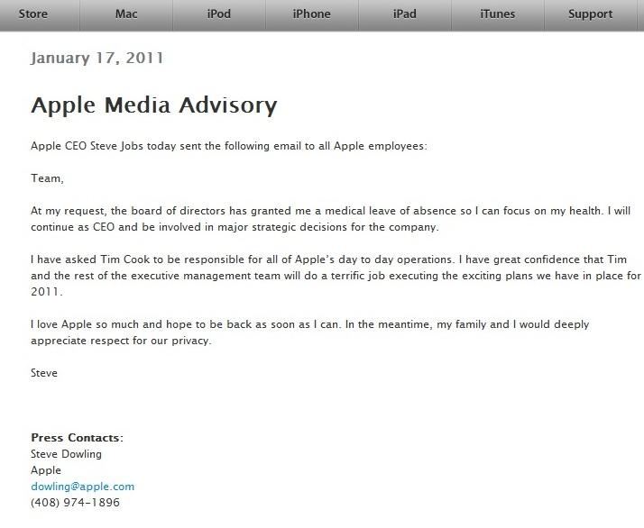 Arret maladie pour Steve Jobs patron de Apple