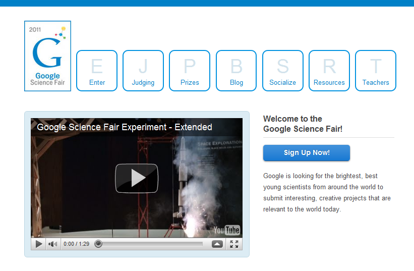 Site Internet pour s'inscrire pour le Google Science Fair 2011