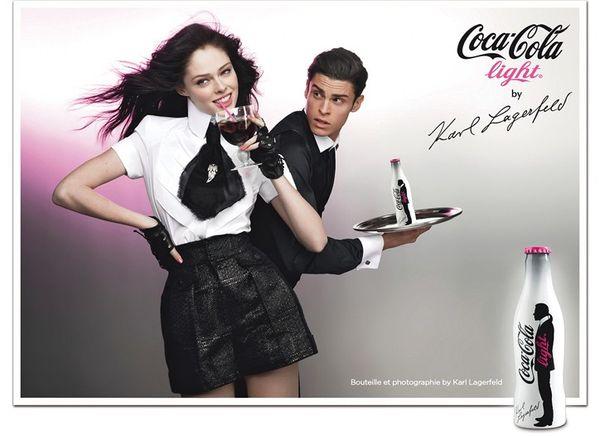 Publicite bouteille Coca Cola Light avec Karl Lagarfeld