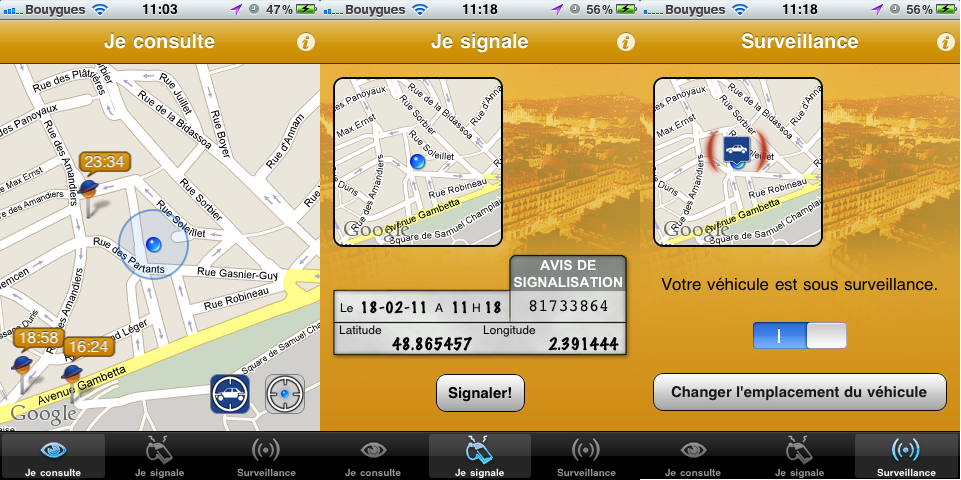 Application iPhone pervenche - Stop PV