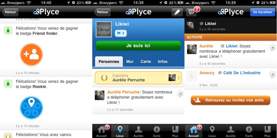 Copies d'écran de Plyce