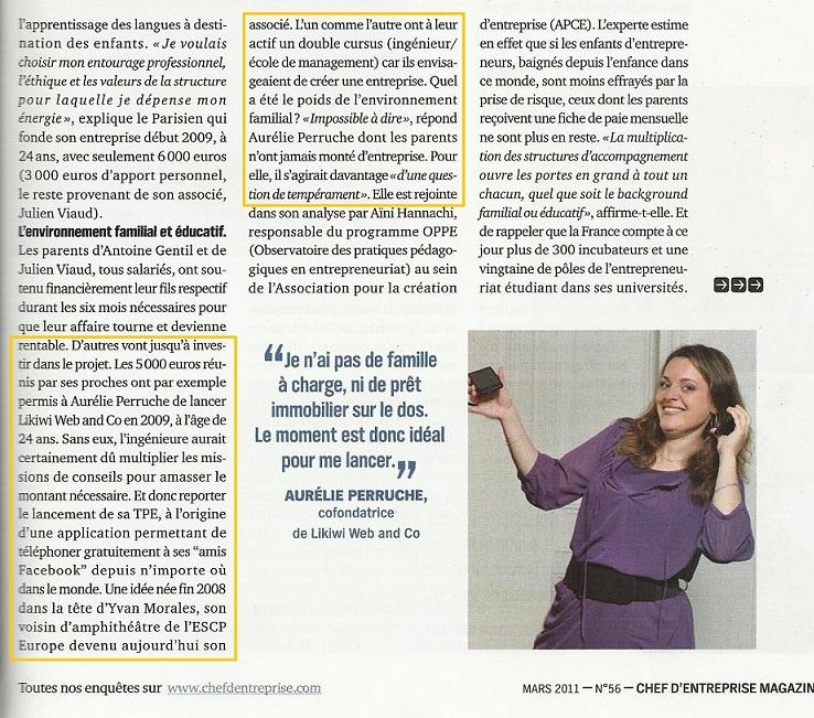 Article Likiwi dans Chef d'Entreprise magazine