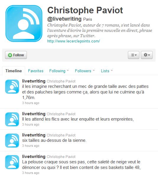 Live Twriting : roman écrit avec les tweets sur Twitter