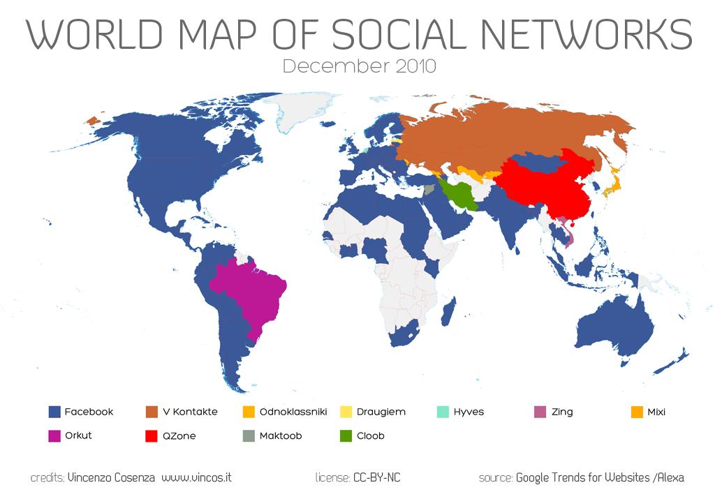 Carte des réseaux sociaux dans le monde