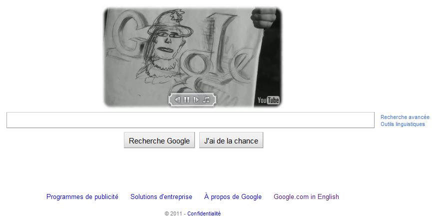 Doodle Google charlie Chaplin 122eme anniversaire