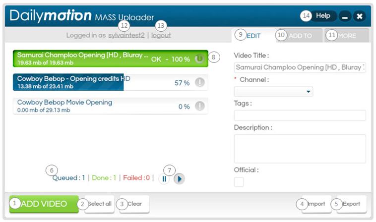 Dailymotion Mass Uploader