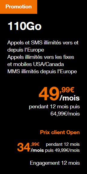 Forfait mobile Orange de 110 Go