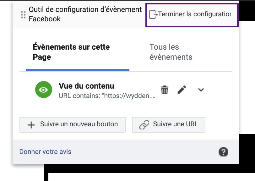 pixel FB config event