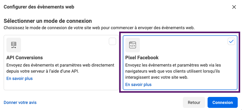 pixel facebook mode de connexion